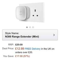 belkin n300 wifi range extender £12.99 (Prime) / £16.98 (non Prime) at Amazon