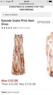 Upto 90% off on several items -  Episode Snake print maxi dress £10 houseoffraser