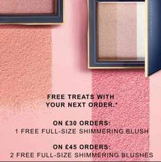 free full size shimmering blush on orders over £30 (or 2blushes for orders over £45)at Estée Lauder