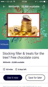 Free chocolate coins whsmith (o2 priority)
