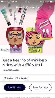 O2 priority spend £30 on benefit and get free best sellers trio