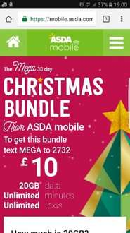ASDA mobile 30-day Xmas bundle - unlimited minutes/texts + 20 GB (3G) £10.00