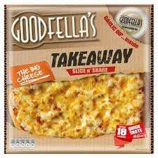 goodfellas takeaway pizzas 555g - 607g with a pot of dip down from £3.25 to £2.  Available at Morrisons online and Instore. Fajita chicken and the big cheese are yummy - £2