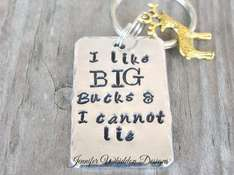 "Deer hunter key chain ""I like big bucks and I cannot lie"".. £25.86 etsy"