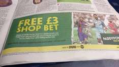 Free £3 instore bet with PaddyPower