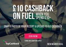 £10 cashback on fuel when you spend £10+ Topcashback (new TCB only).