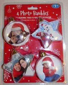 Pack of 4 Make Your Own Photo Baubles (pack includes 2 Star Shaped & 2 Round) £1.99 @ B&M in-store