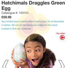 hatchimals available tomorrow instore @ Smyths - £59.99