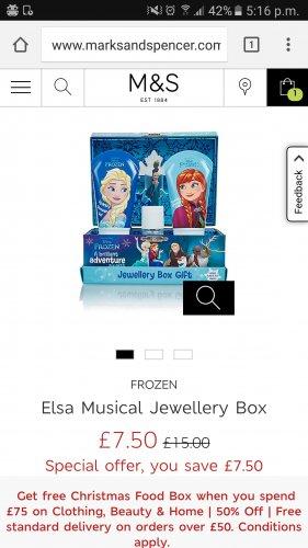 Disney Frozen Eleanor jewellery box musical half price £7.50 M&S