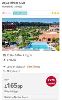 All inclusive Morocco holiday £165pp - incl.{From London or Manchester}- 7 nights splashworld resort, flights, bags & transfers