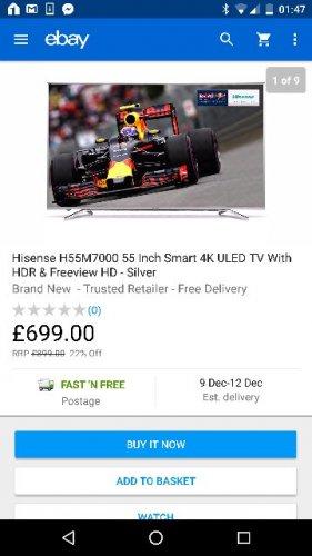 Hisense H55M7000 4K Smart ULED TV £699. @ Cramptonandmoore ebay.