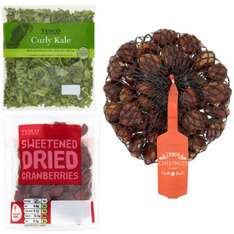 Tesco Fruit, Vegetables and Nuts offers, Curly Kale 206g 50p, Cranberries 100g 75p, Chestnuts 400g £2