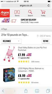 2 for £10 on selected Toys at Argos