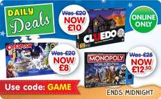The Entertainer (Today only, ends Midnight) Daily deal, reduced games: Cludeo £10, Monopoly (here and now) £12.50 and Operation (frozen version) £8