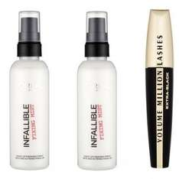 THREE L'Oreal Fixing Sprays & FREE Volume Million Lash Mascara (Worth £9.99) £7.98