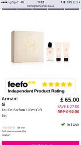 Armani Si 100ml EDP gift set - £55 (using code) @ Fragrance Shop