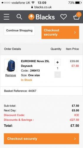 25% off rucksacks & bags code ICE. 25l day sack. Eurohike Nova £7.50 Blacks
