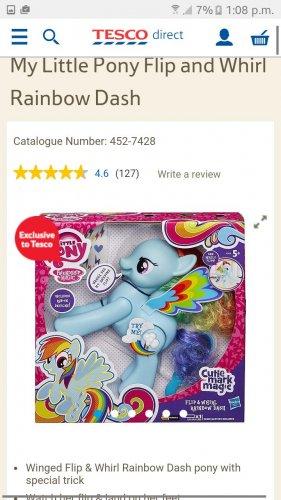 My Little Pony  Rainbow dash flip and whirl £10 Tesco
