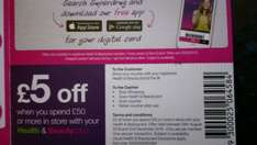 Save £5 with £50 spend at Superdrug with your health & beauty card in-store.