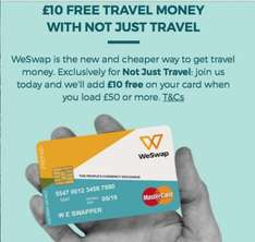Travel Money - £10 Free when £50 added to Card @ WeSwap