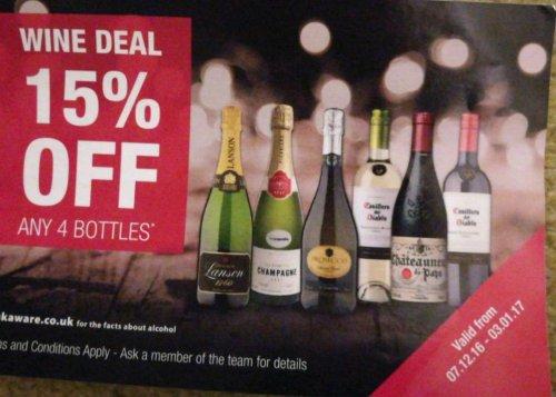 Co Op wine deal 15% off 4 bottles. Jacobs Creek sauvignon blanc £4.24