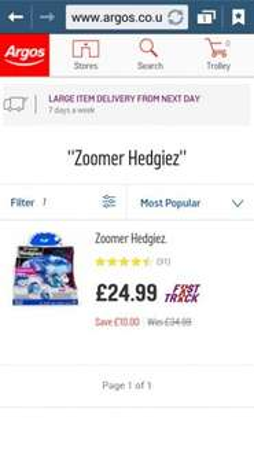 zoomer hedgies blue flip £24.99 @ Argos