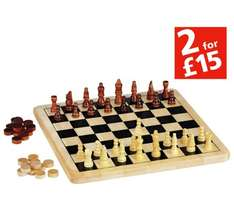 Chad Valley Wooden Chess and Draughts Board Game @ Argos £4.99 (Free C&C)