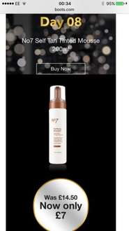 Boots No7 self tan mousse - less than half price! £7 instead of £14.50 + 3 for 2 + 8.8% Quidco! 3 for £14!