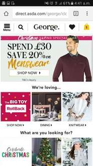 20% off a £30 spend  on menswear at George  (asda)