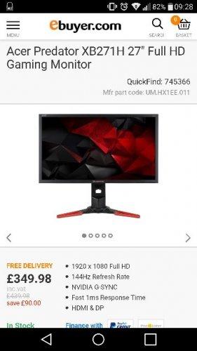 "Acer Predator XB271H 144hz Gsync 27"" Full HD Gaming Monitor £349.98 ebuyer"