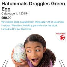 hatchimals in stock smyths toys Coventry now 10 on the shelf - £59.99