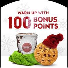 100 bonus points on orders between 5pm and midnight! from 8th to 24 Dec @ Subway
