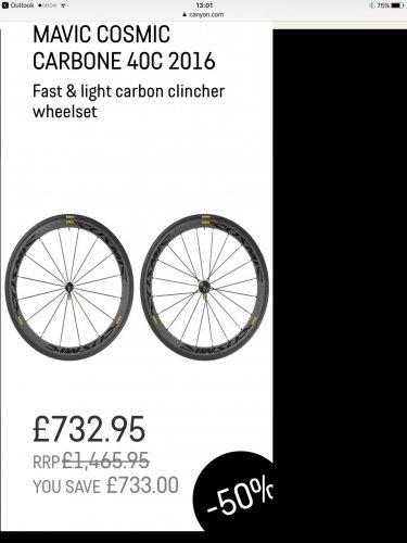 Mavic Carbon clinchers £732.95 was £1465.95 @ Canyon
