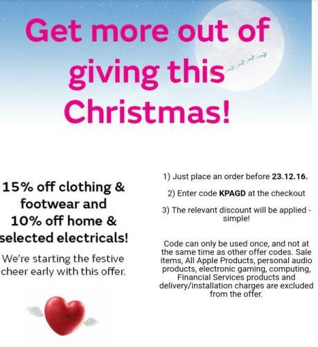 15% off clothing & footwear at very using code KPAGD until 23.12 16