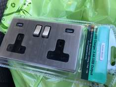 Double mains plus USB brushed steel wall socket - £9.99 @ Home Bargains (Preston, poss nationwide)