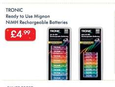 TRONIC Ready to Use Mignon NiMH 8  Rechargeable Batteries £4.99 in Lidl