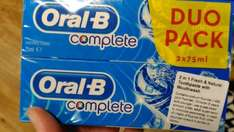 Oral B Complete Duo Pack 2x75ml (150ml total) toothpaste with mouthwash built in for £1 @ Poundland