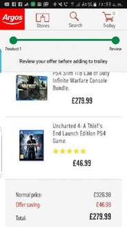 PS4 Slim 1TB Call of Duty Infinite Warfare Console Bundle With Uncharted 4 £279.99 @ Argos (Potential 17% Cashback)