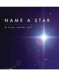 STAR GIFT! Name a Star after a loved one, a lost family member, a newborn baby or a lost pet. (£9.99 with free Collect+ and Quidco 12% new customers, can upgrade to deluxe one for 19.99 which is on 3 for 2 so £13.32 each) at Very