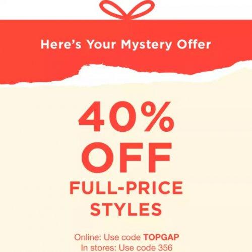 40% Off Full-Price Styles with code TOPGAP @ GAP