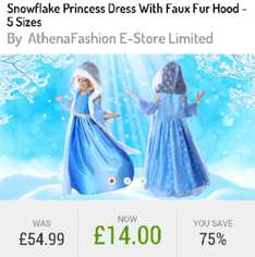 75% OFF girls Princess dress with faux fur hood - £18.99 Delivered @ GoGroopie