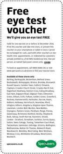 Free Eye test at Specsavers LONDON - till 31st December