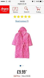 Pink ladies dressing gown - £9.99 @ Argos