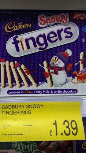 Cadbury Snowy Fingers Xmas - TWIN 230g Pack - £1.39 @ B&M