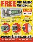 FREE SD/USB CAR STEREO @ STAPLES WITH ORDERS OVER £39+VAT + 7% QUIDCO!