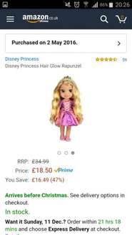 Disney Tangled Rapunzel Hair Glow singing doll reduced from £35 to 18.50 @Amazon