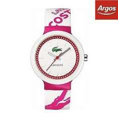 Lacoste Unisex Goa Pink and White Strap Watch £28.80 with code (CEBAYARGOS) @ Argos ebay free p&p also available in green/white.Manufacturer's 2 year guarantee.
