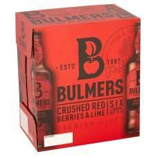 Bulmers cider crushed red berries and lime 6 pack £7 in Tesco