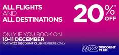 Wizz Air 20% discount on all flights eg London Luton-Budapest £37 book 10-11 December only