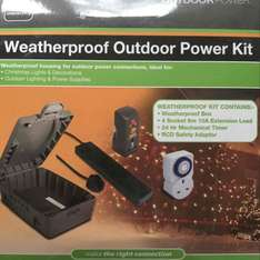 Weatherproof Outdoor Power Kit includes 4 Sockets, 6m cable + Timer+RCD